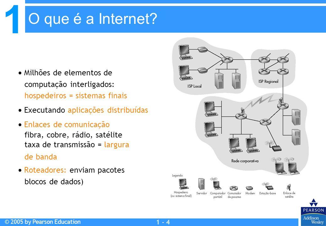 O que é a Internet  Milhões de elementos de computação interligados: