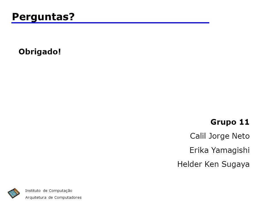 Perguntas Obrigado! Grupo 11 Calil Jorge Neto Erika Yamagishi
