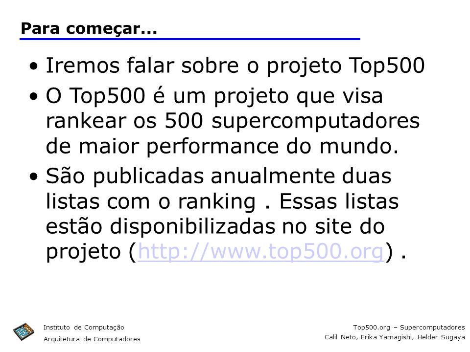 Iremos falar sobre o projeto Top500