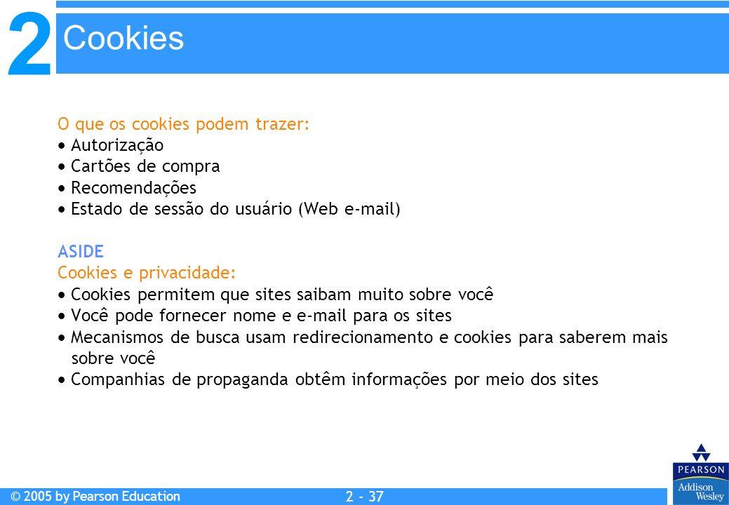Cookies O que os cookies podem trazer:  Autorização