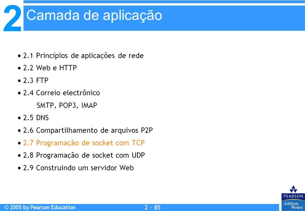 Camada de aplicação  2.1 Princípios de aplicações de rede