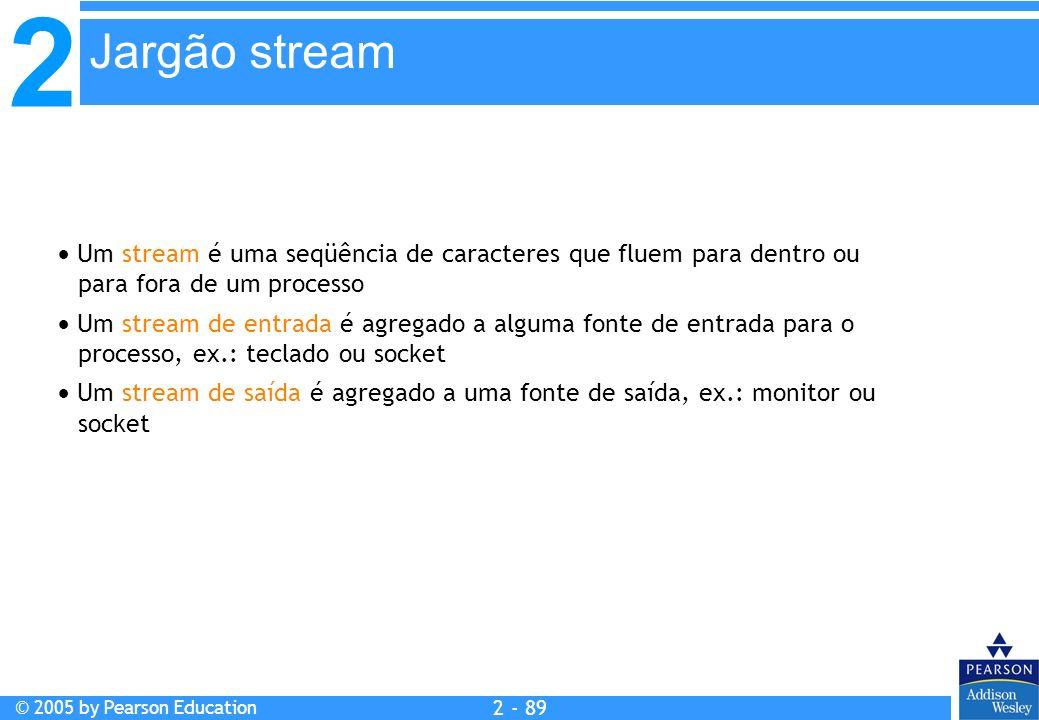 Jargão stream Um stream é uma seqüência de caracteres que fluem para dentro ou para fora de um processo.