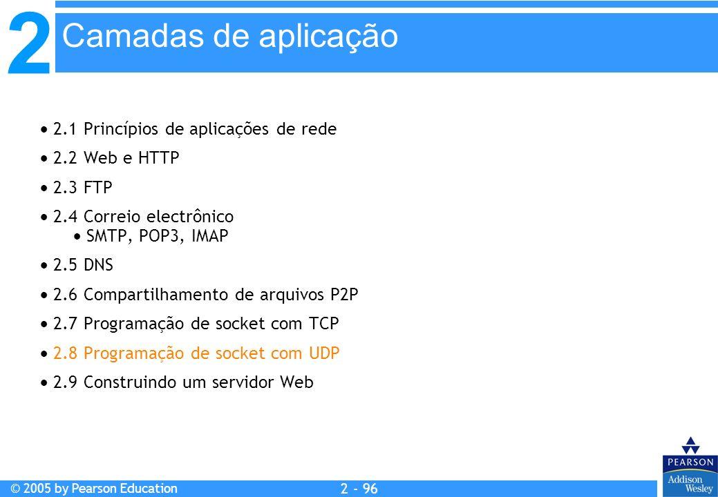 Camadas de aplicação  2.1 Princípios de aplicações de rede