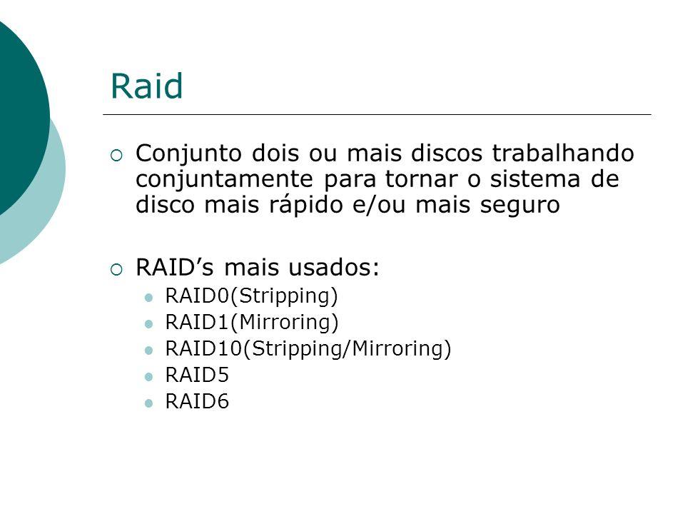 Raid Conjunto dois ou mais discos trabalhando conjuntamente para tornar o sistema de disco mais rápido e/ou mais seguro.