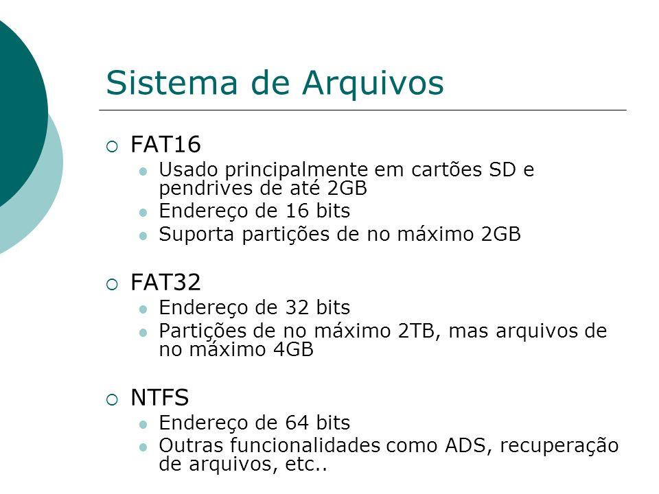 Sistema de Arquivos FAT16 FAT32 NTFS