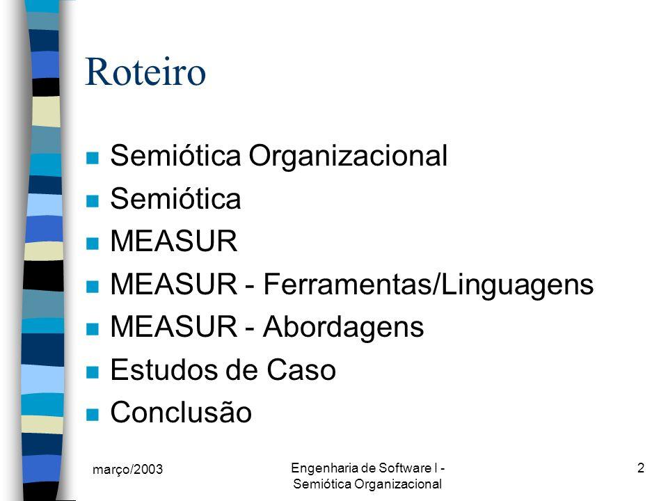 Engenharia de Software I - Semiótica Organizacional
