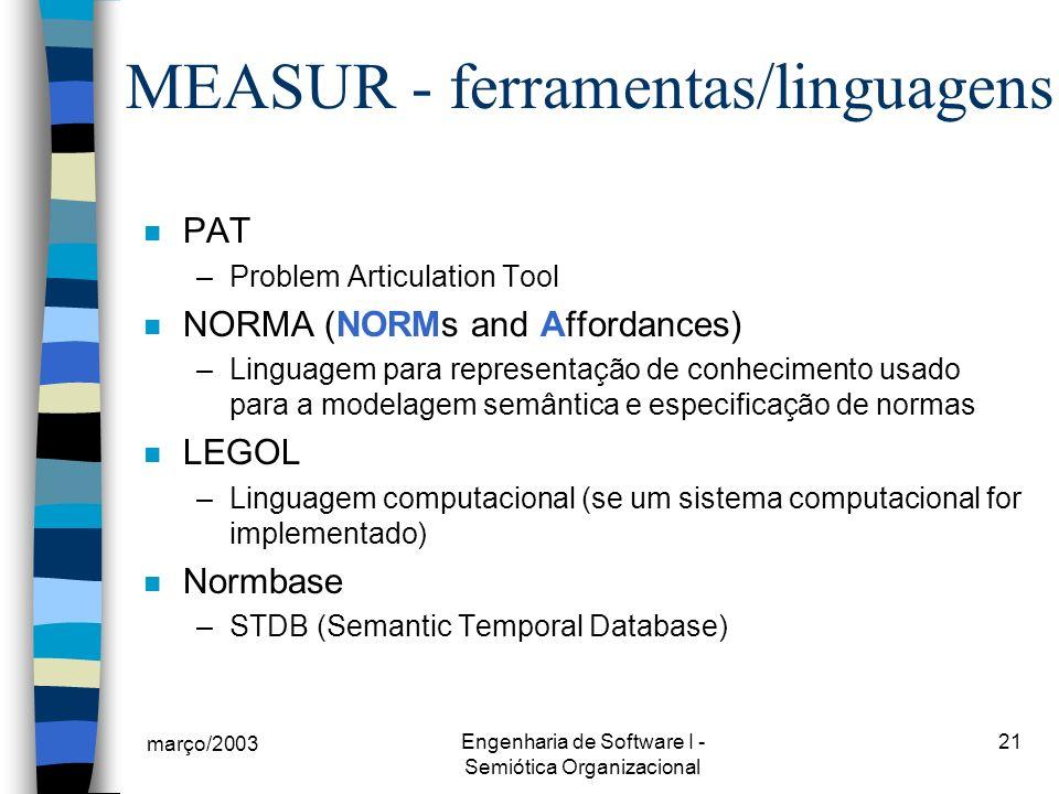 MEASUR - ferramentas/linguagens