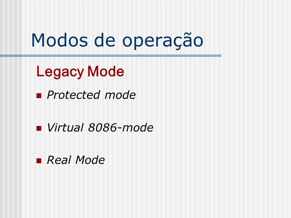 Modos de operação Legacy Mode Protected mode Virtual 8086-mode