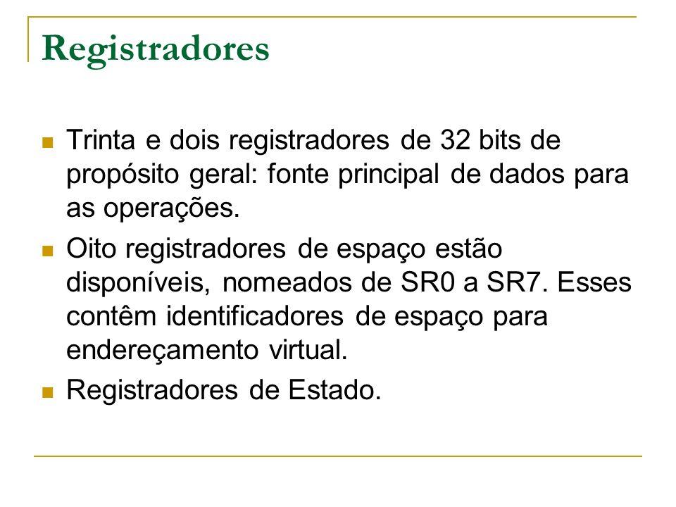Registradores Trinta e dois registradores de 32 bits de propósito geral: fonte principal de dados para as operações.