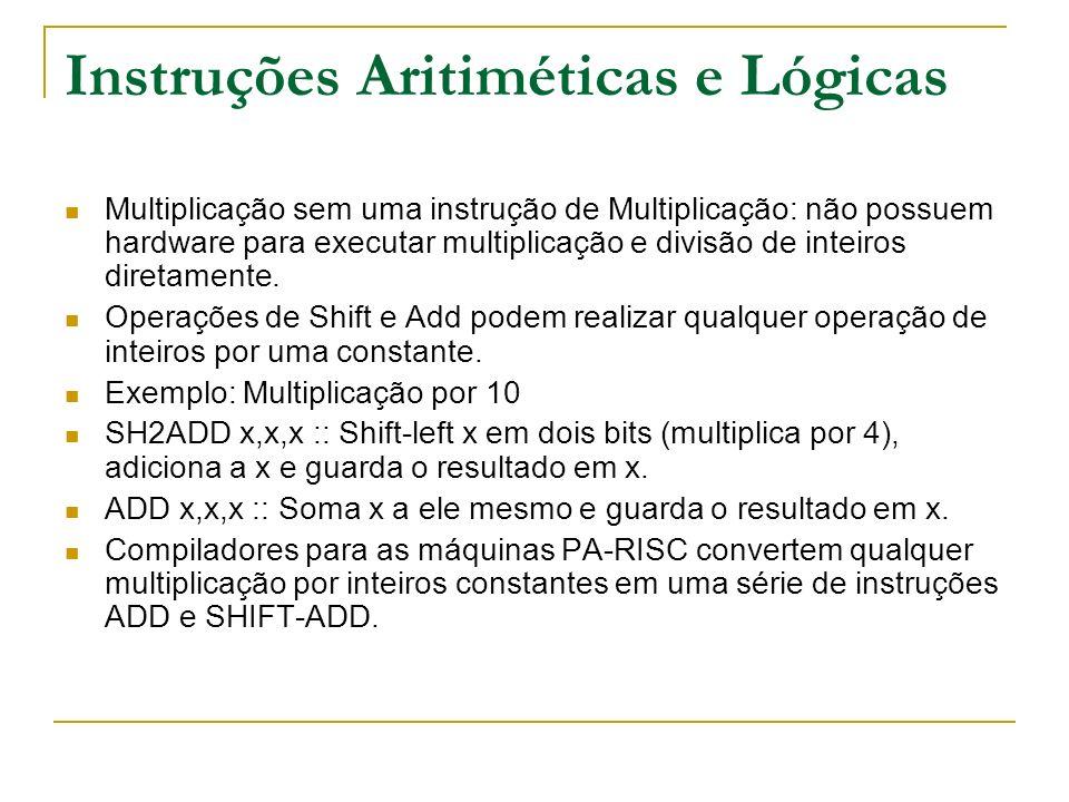 Instruções Aritiméticas e Lógicas
