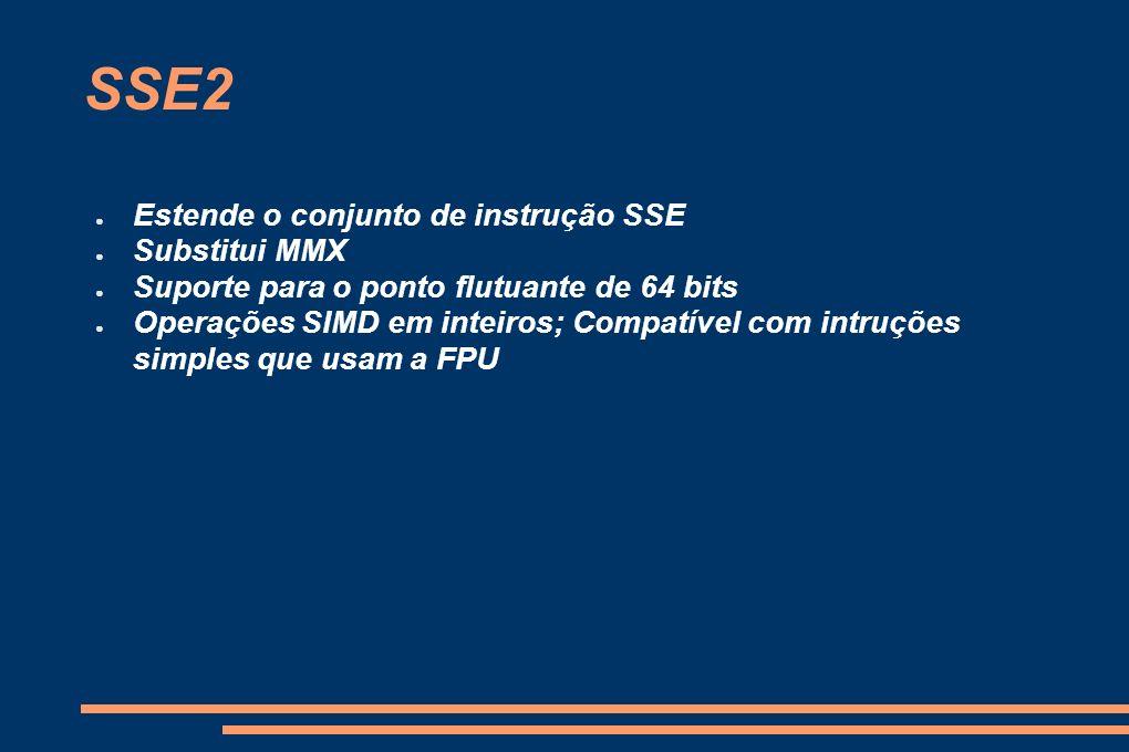 SSE2 Estende o conjunto de instrução SSE Substitui MMX