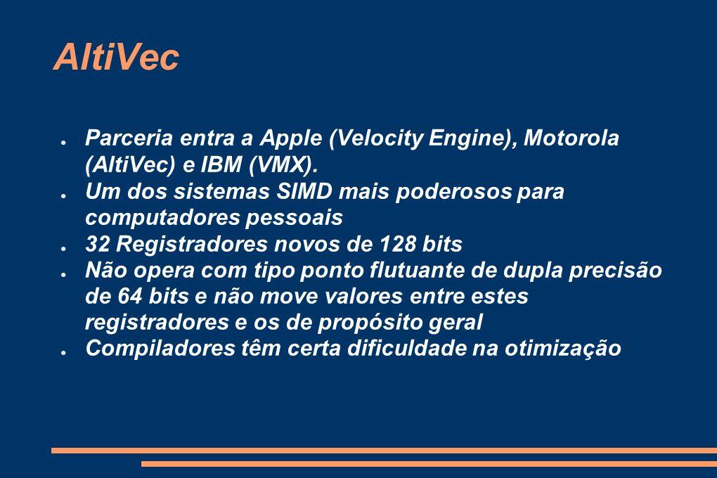 AltiVec Parceria entra a Apple (Velocity Engine), Motorola (AltiVec) e IBM (VMX). Um dos sistemas SIMD mais poderosos para computadores pessoais.