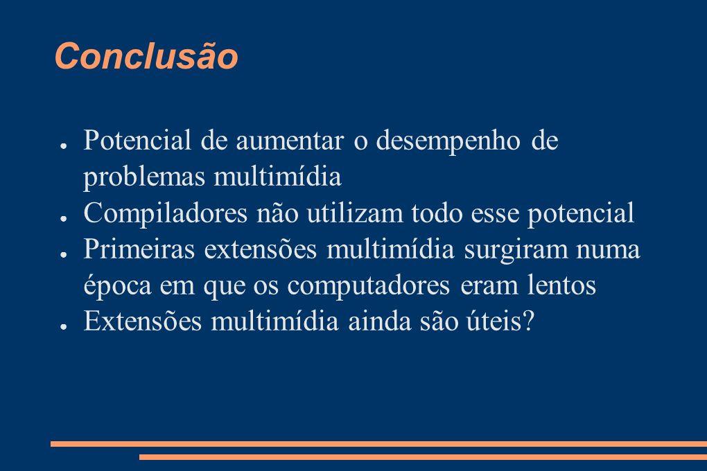 Conclusão Potencial de aumentar o desempenho de problemas multimídia