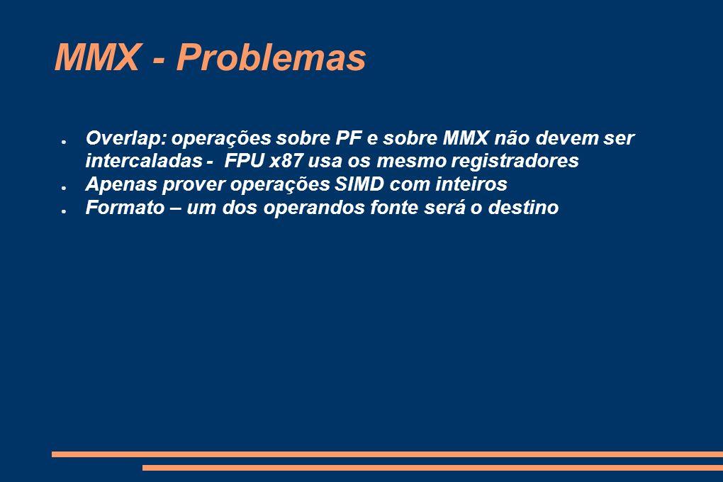 MMX - Problemas Overlap: operações sobre PF e sobre MMX não devem ser intercaladas - FPU x87 usa os mesmo registradores.