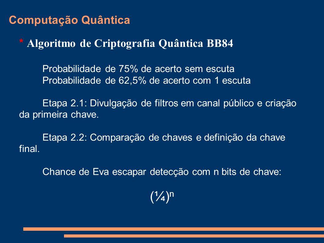 (¼)n Computação Quântica * Algoritmo de Criptografia Quântica BB84