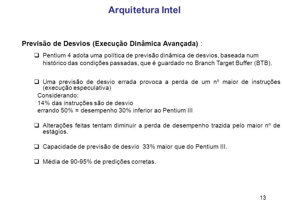 Arquitetura Intel Previsão de Desvios (Execução Dinâmica Avançada) :