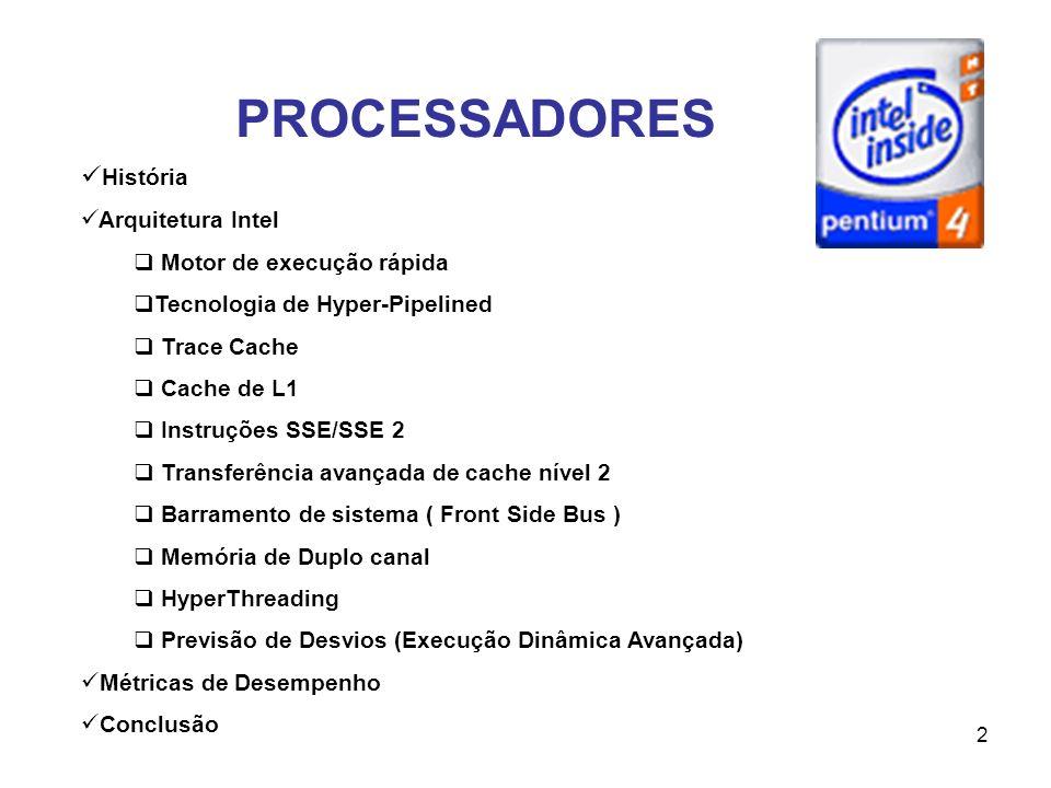 PROCESSADORES História Arquitetura Intel Motor de execução rápida