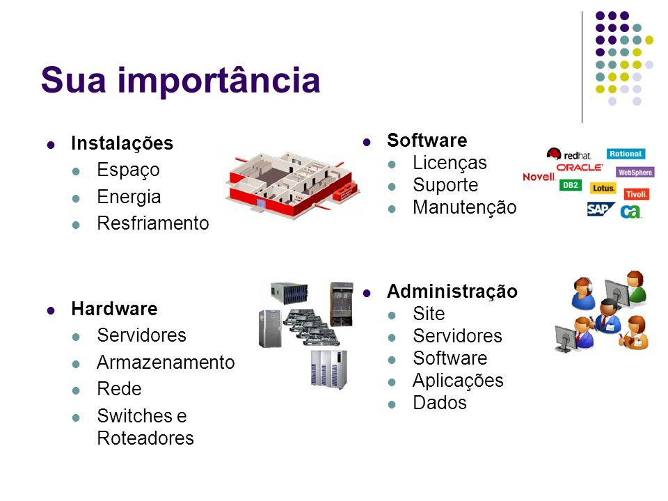 Sua importância Instalações Software Espaço Licenças Suporte Energia