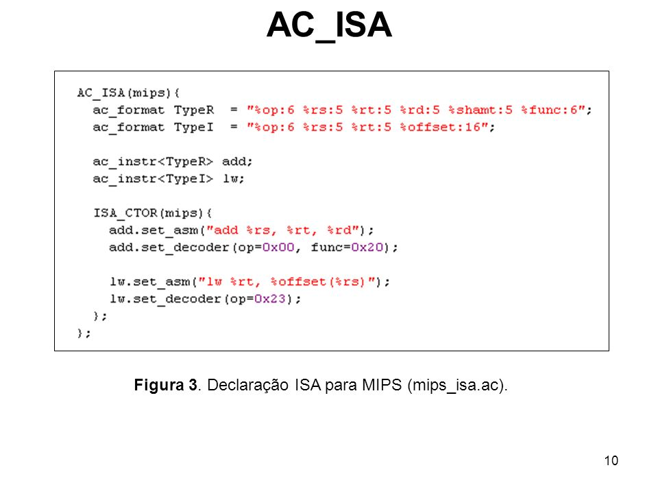 Figura 3. Declaração ISA para MIPS (mips_isa.ac).