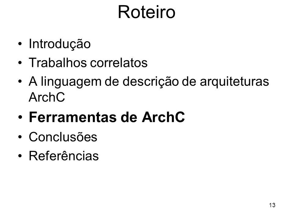 Roteiro Ferramentas de ArchC Introdução Trabalhos correlatos