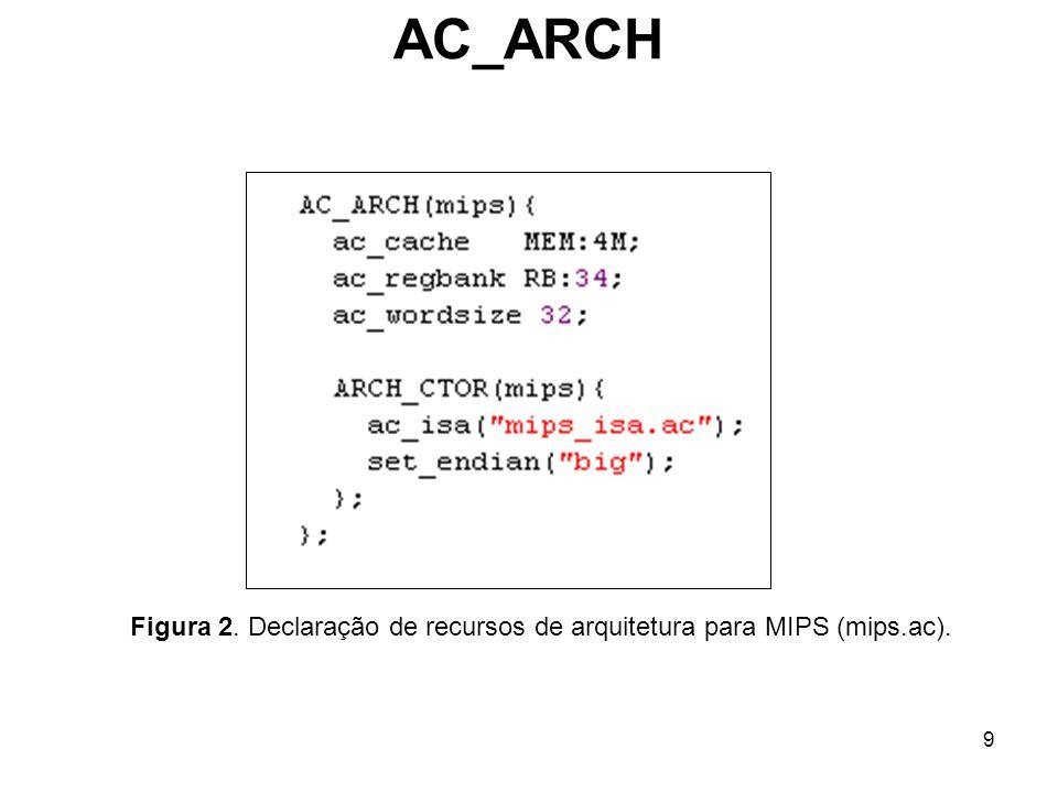 Figura 2. Declaração de recursos de arquitetura para MIPS (mips.ac).