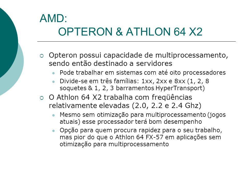 AMD: OPTERON & ATHLON 64 X2 Opteron possui capacidade de multiprocessamento, sendo então destinado a servidores.
