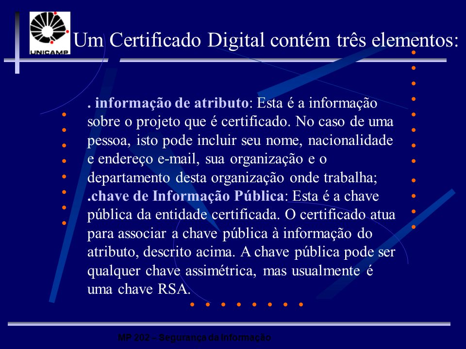 Um Certificado Digital contém três elementos: