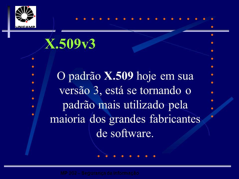 X.509v3 O padrão X.509 hoje em sua versão 3, está se tornando o padrão mais utilizado pela maioria dos grandes fabricantes de software.