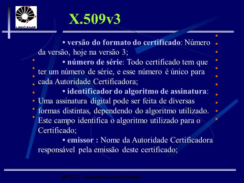 X.509v3 • versão do formato do certificado: Número da versão, hoje na versão 3;