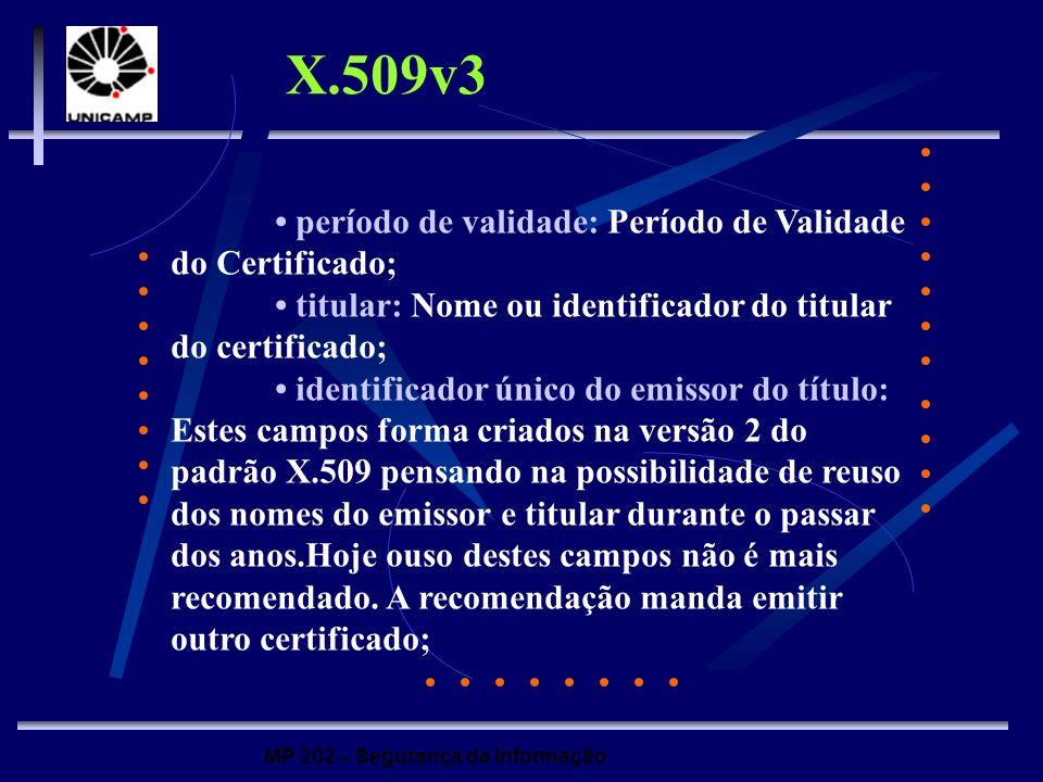 X.509v3 • período de validade: Período de Validade do Certificado;