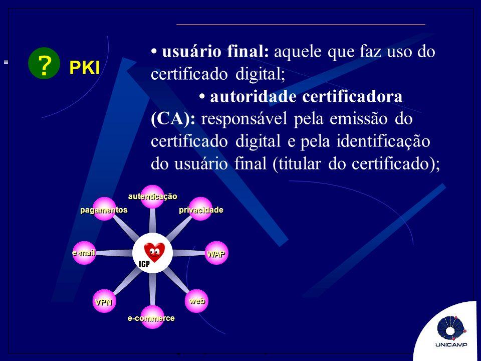 • usuário final: aquele que faz uso do certificado digital; PKI