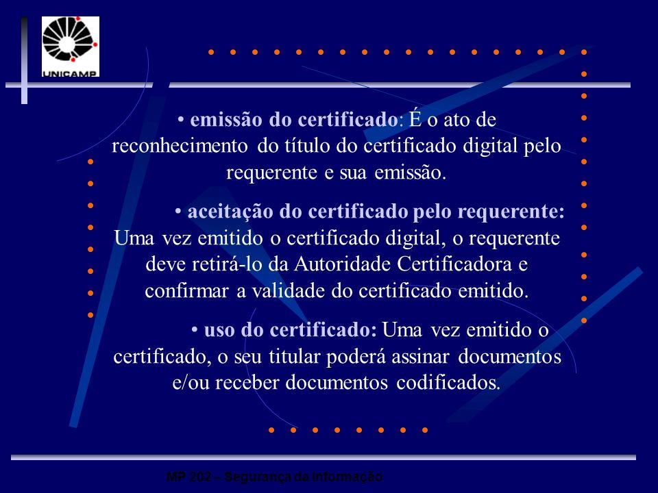 • emissão do certificado: É o ato de reconhecimento do título do certificado digital pelo requerente e sua emissão.