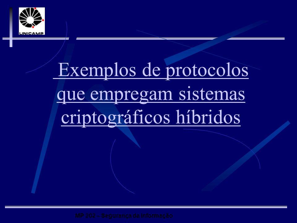 Exemplos de protocolos que empregam sistemas criptográficos híbridos