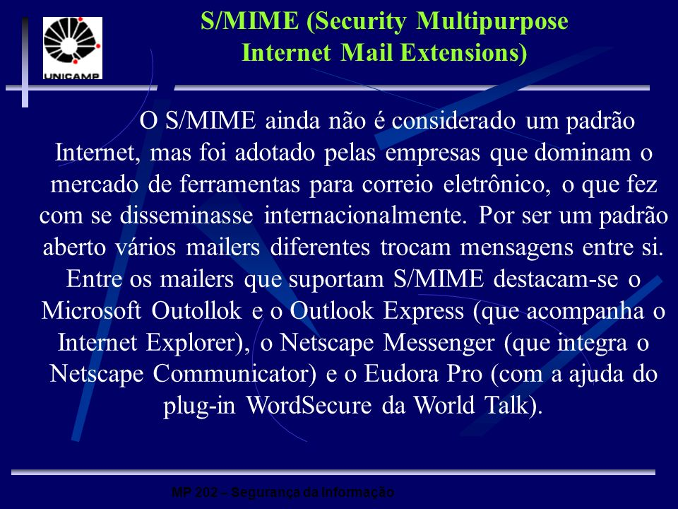 S/MIME (Security Multipurpose Internet Mail Extensions)