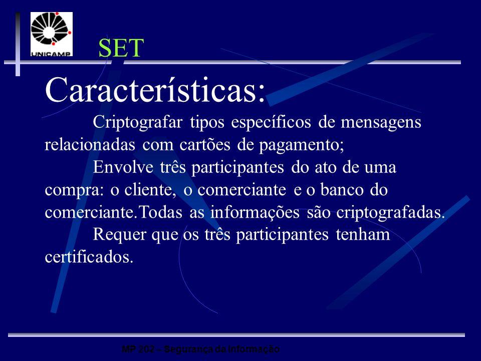 SET Características: Criptografar tipos específicos de mensagens relacionadas com cartões de pagamento;