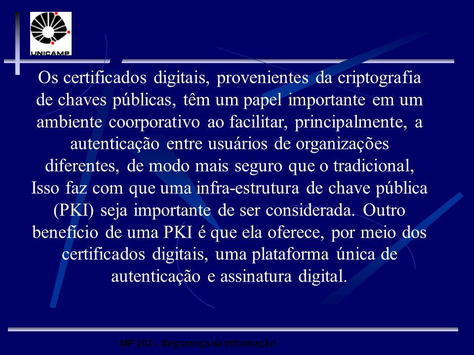 Os certificados digitais, provenientes da criptografia de chaves públicas, têm um papel importante em um ambiente coorporativo ao facilitar, principalmente, a autenticação entre usuários de organizações diferentes, de modo mais seguro que o tradicional, Isso faz com que uma infra-estrutura de chave pública (PKI) seja importante de ser considerada.
