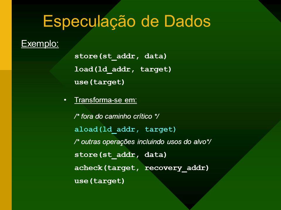 Especulação de Dados Exemplo: load(ld_addr, target) use(target)