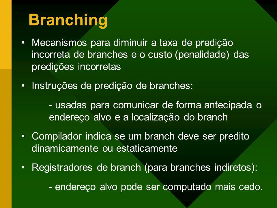 Branching Mecanismos para diminuir a taxa de predição incorreta de branches e o custo (penalidade) das predições incorretas.