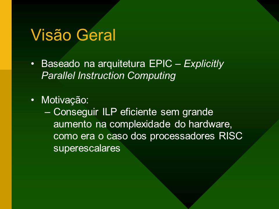 Visão Geral Baseado na arquitetura EPIC – Explicitly Parallel Instruction Computing. Motivação:
