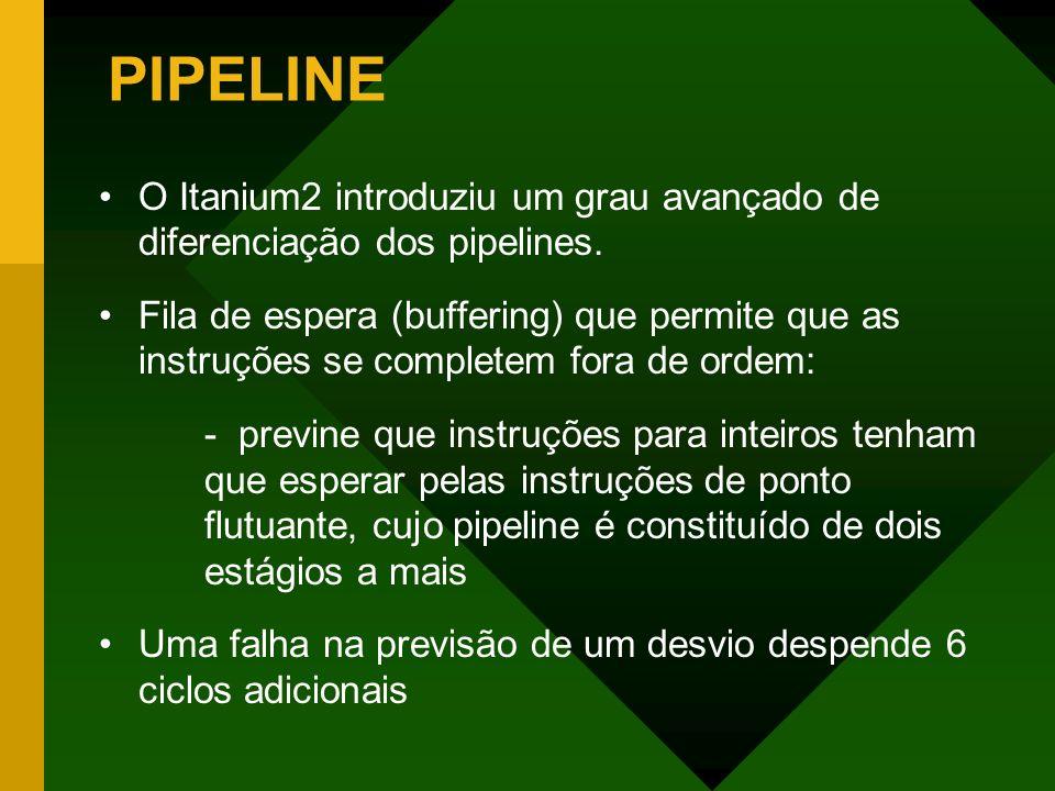 PIPELINEO Itanium2 introduziu um grau avançado de diferenciação dos pipelines.