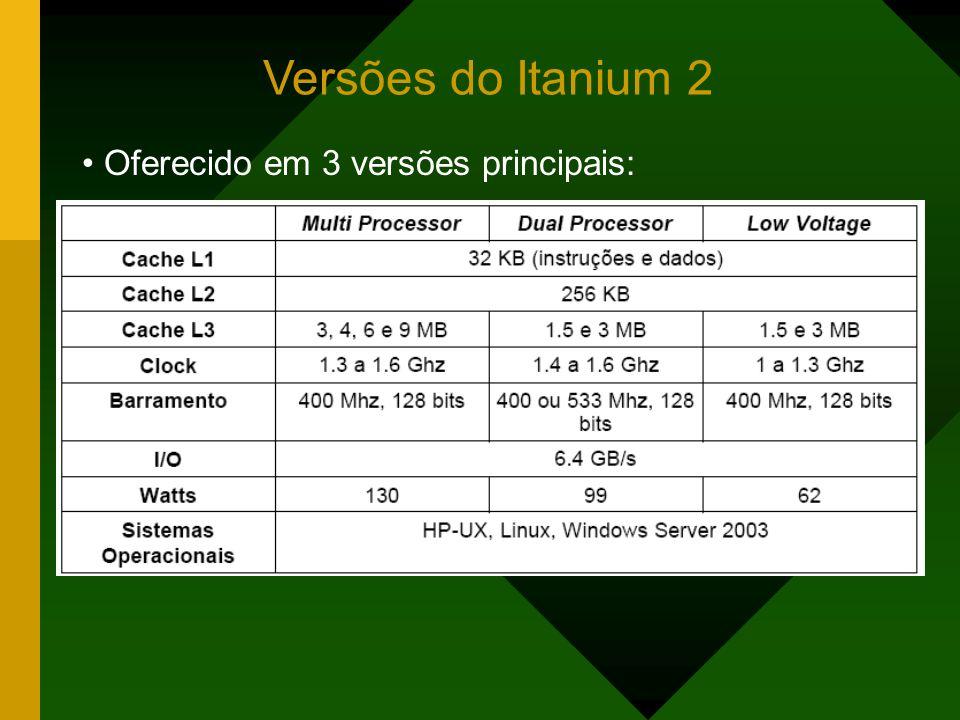 Versões do Itanium 2 Oferecido em 3 versões principais: