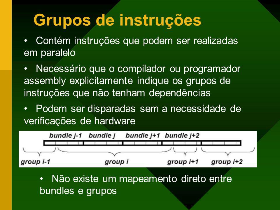 Grupos de instruções Contém instruções que podem ser realizadas em paralelo.