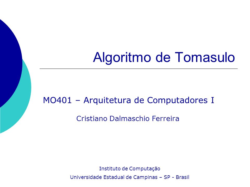 MO401 – Arquitetura de Computadores I