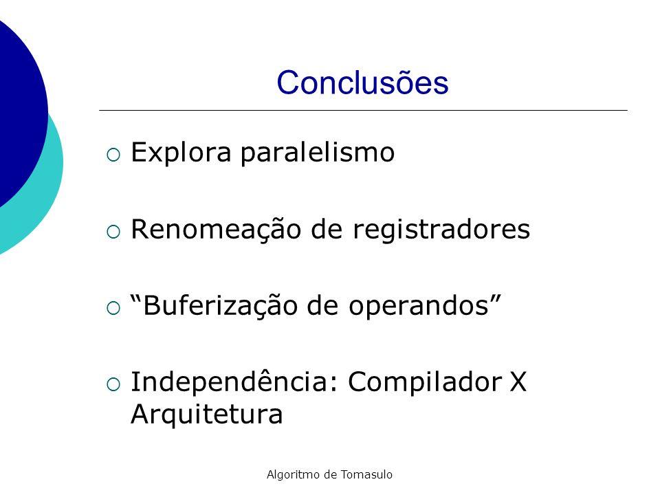 Conclusões Explora paralelismo Renomeação de registradores