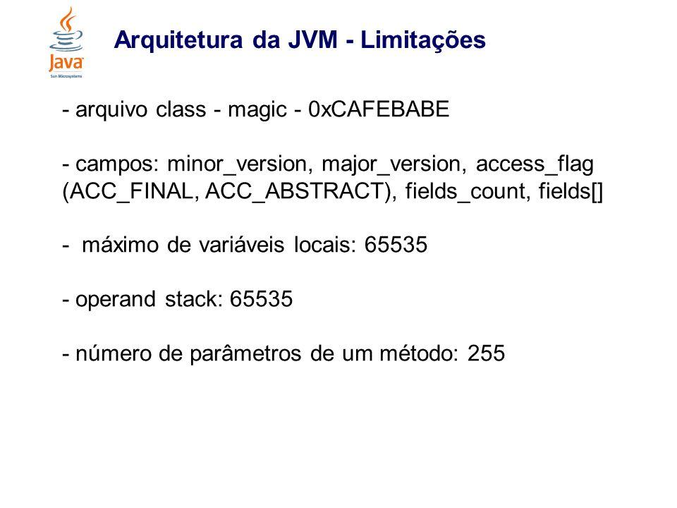 Arquitetura da JVM - Limitações