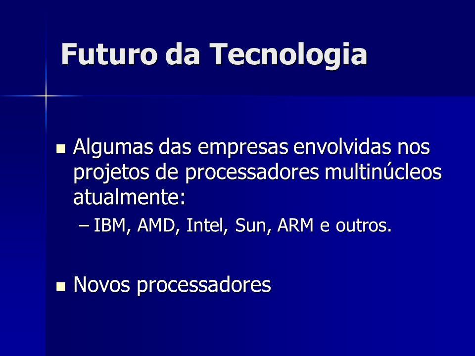 Futuro da Tecnologia Algumas das empresas envolvidas nos projetos de processadores multinúcleos atualmente: