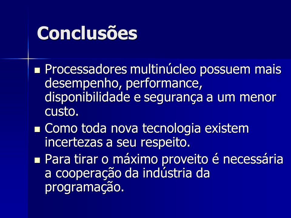 Conclusões Processadores multinúcleo possuem mais desempenho, performance, disponibilidade e segurança a um menor custo.
