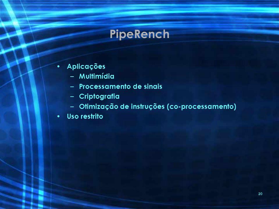 PipeRench Aplicações Multimídia Processamento de sinais Criptografia