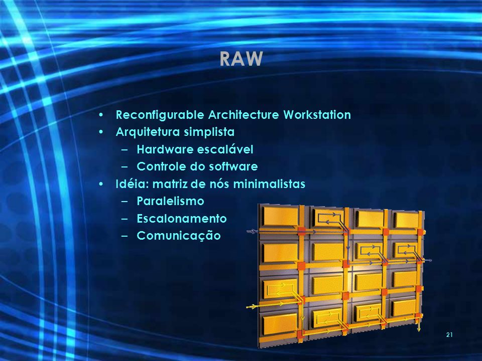 RAW Reconfigurable Architecture Workstation Arquitetura simplista