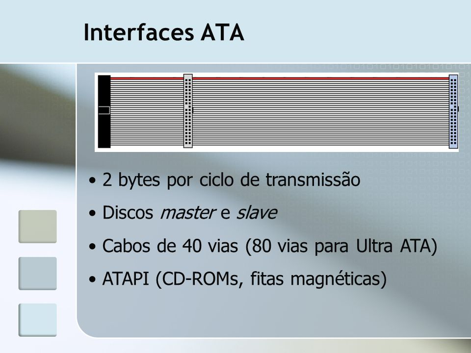 Interfaces ATA 2 bytes por ciclo de transmissão Discos master e slave